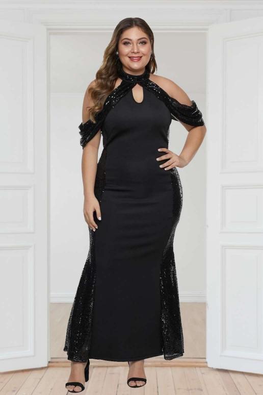 Официална черна макси рокля русалка