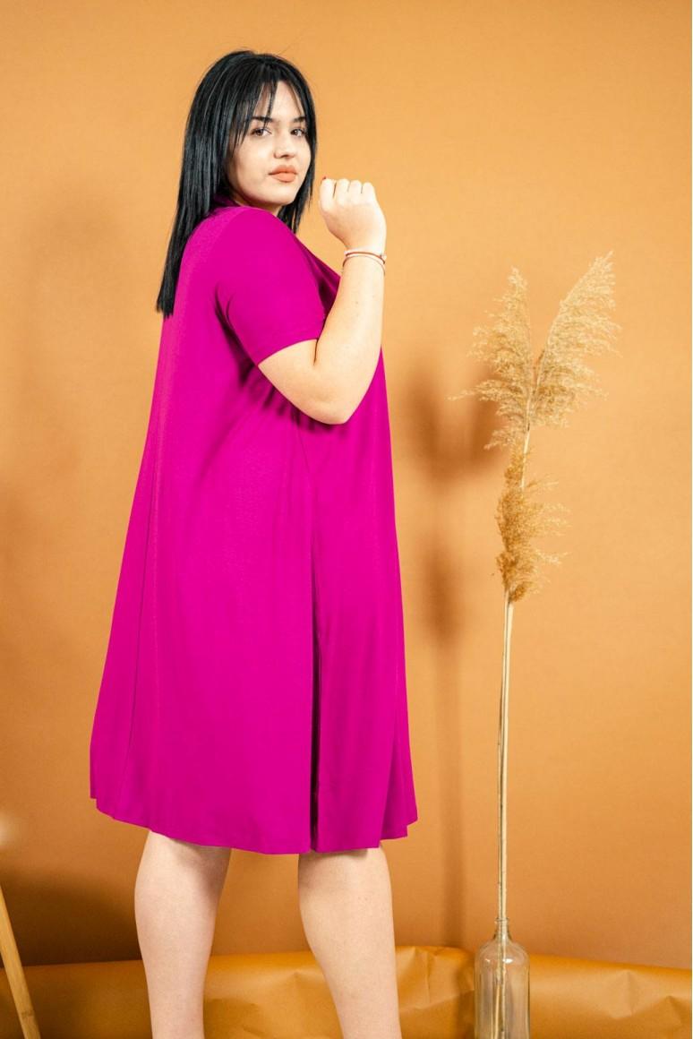 Цикламена свободна макси рокля с къс ръкав