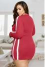 Къса червена спортна макси рокля-туника