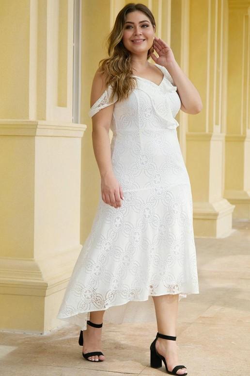 Бяла дантелена макси рокля