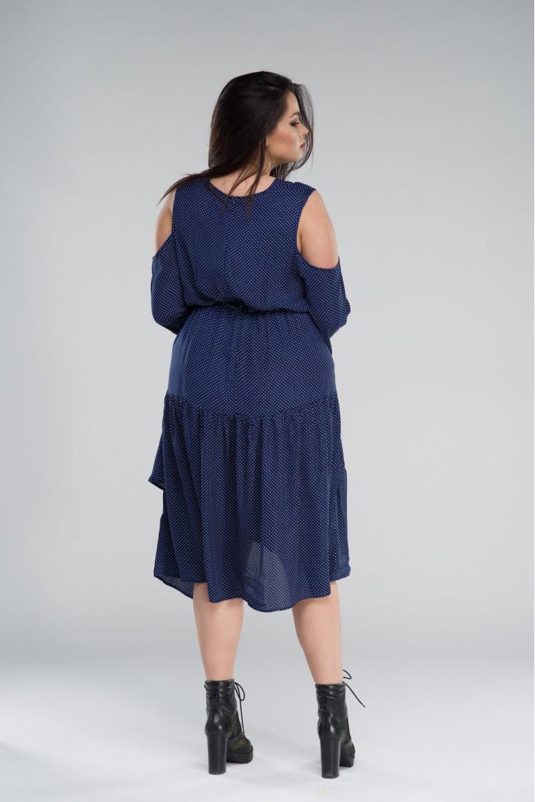 Синя макси рокля на точки