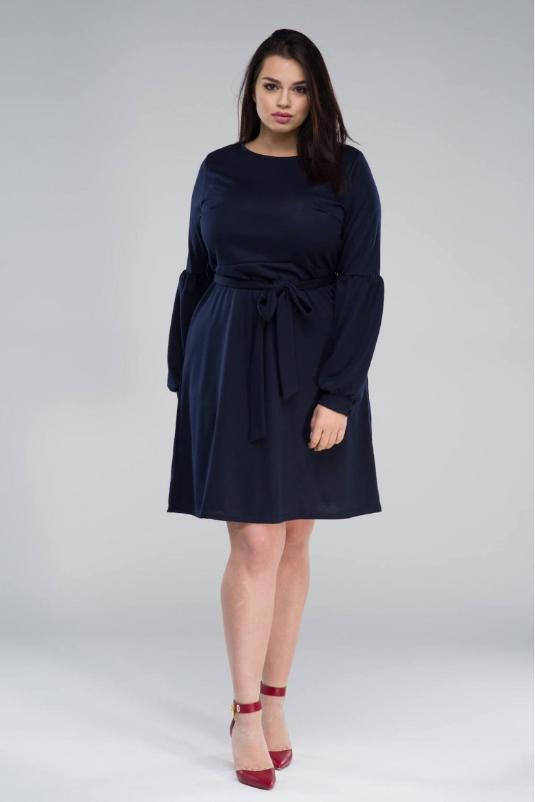 Тъмно синя макси рокля с полу балон ръкав