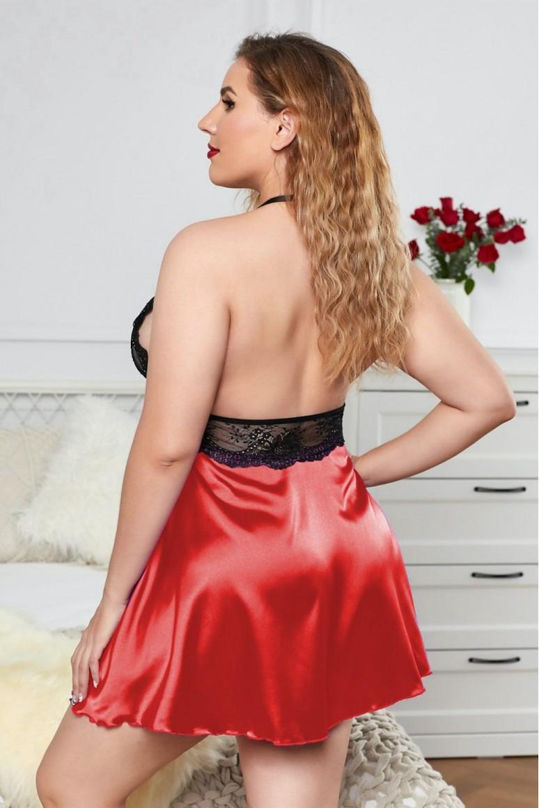 Макси секси бельо червен сатен и черна дантела