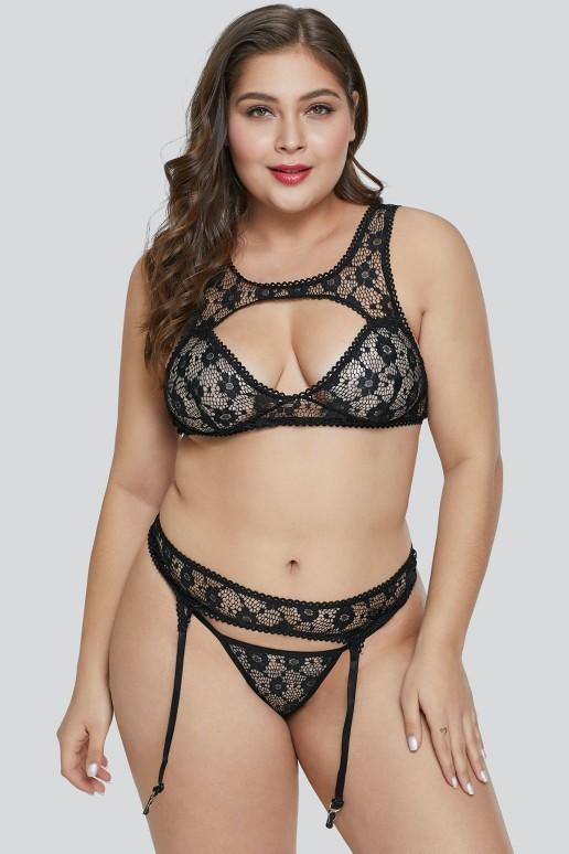 Erotic maxi set of bra, bikini and garters in black lace