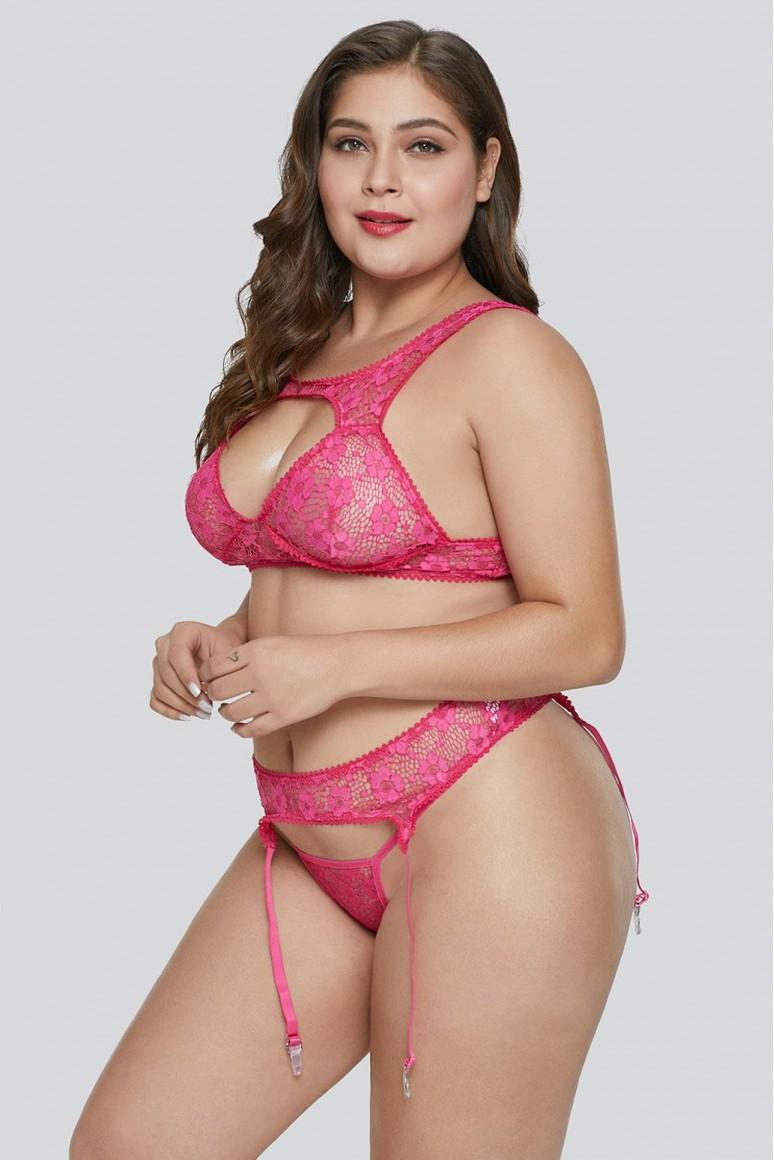 Еротичен макси комплект с жартиери в розово