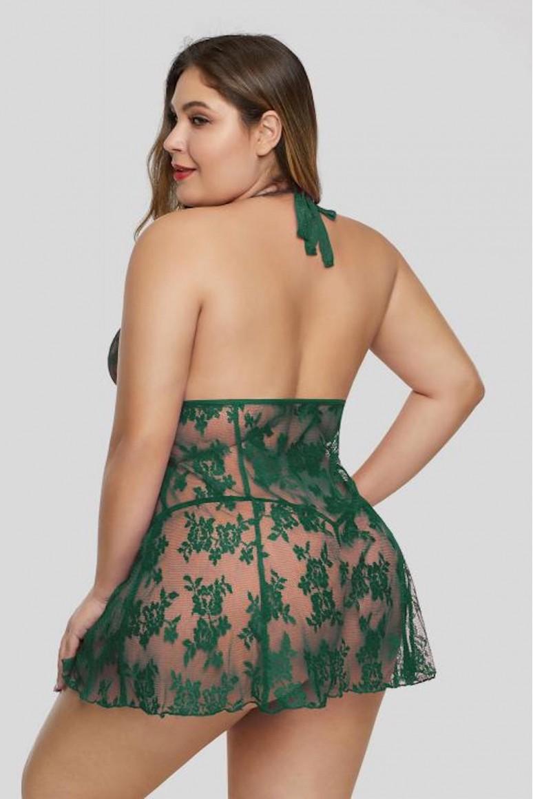 Секси макси нощница зелена дантела