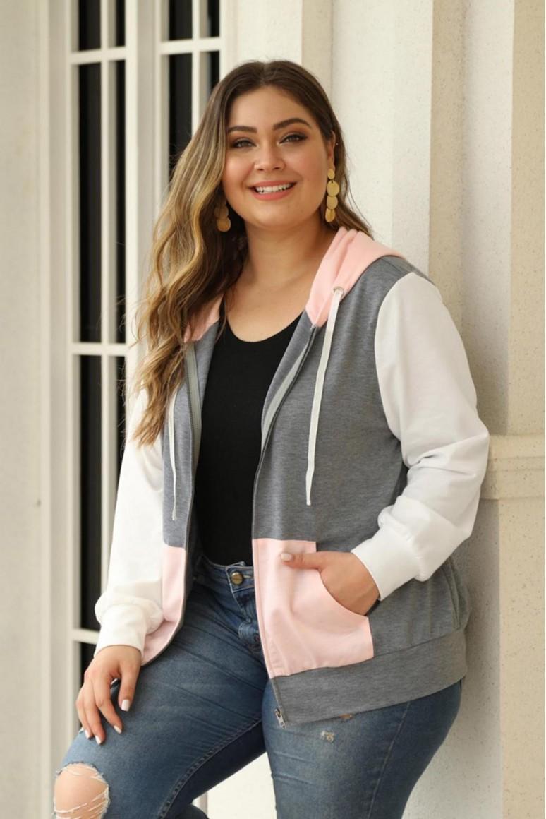 Макси суитшърт-яке с розов джоб, цип и качулка
