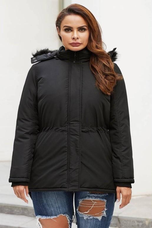Зимно черно макси яке с качулка